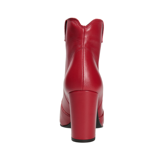 Red leather high ankle boots bata, red , 794-5652 - 15