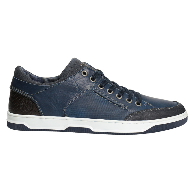 Blue leather sneakers bata, blue , 846-9927 - 26