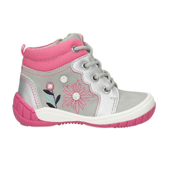Kids' ankle boots with embroidery bubblegummer, gray , 121-2619 - 26