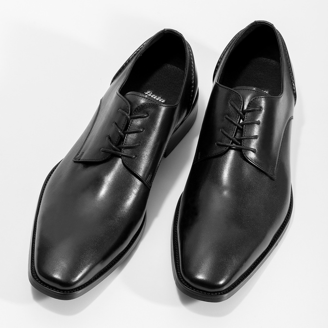 Black leather Derby shoes bata, black , 824-6405 - 16