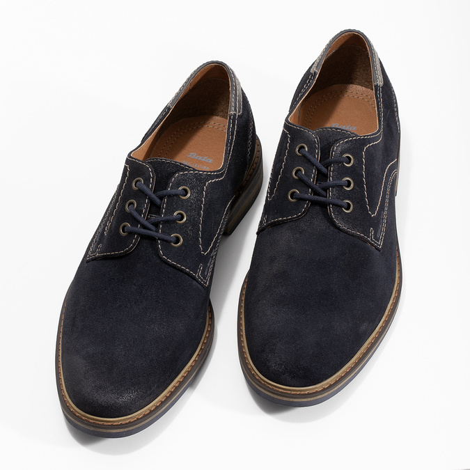 Blue leather shoes with stitching bata, blue , 823-9613 - 16