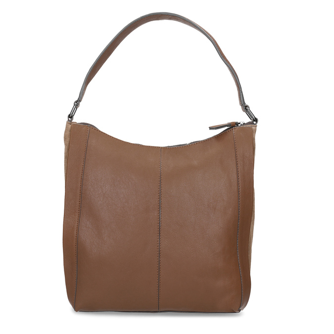 Brown leather handbag bata, brown , 964-3254 - 16