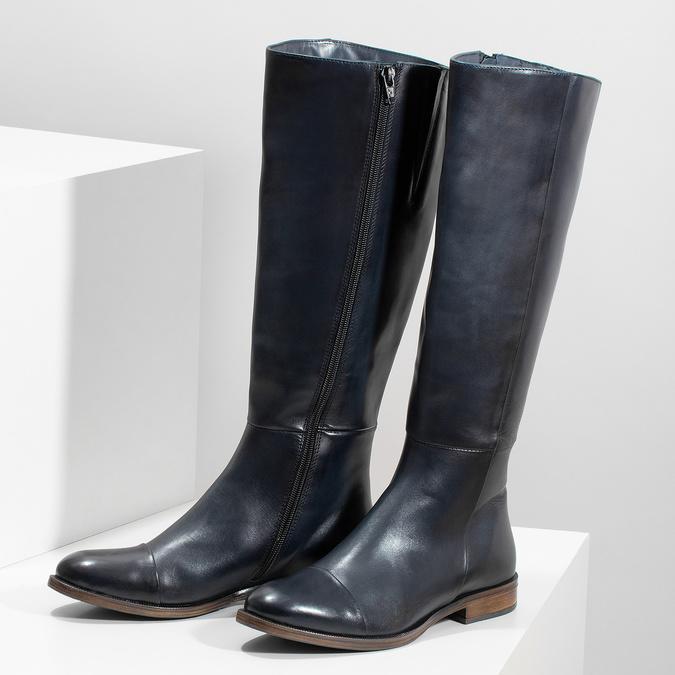 Ladies' Leather High Boots bata, blue , 594-9637 - 16